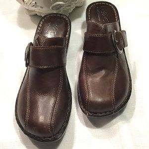 BOC Concepts Brown Buckle Slip On Mules 7/38